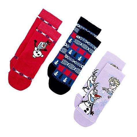 Lot de 3paires de chaussettes Joyeuses Fêtes avec Olaf pour enfants - 31-36.5