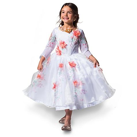 Robe de déguisement blanche Belle pour enfants, La Belle et la Bête - 5-6 ans