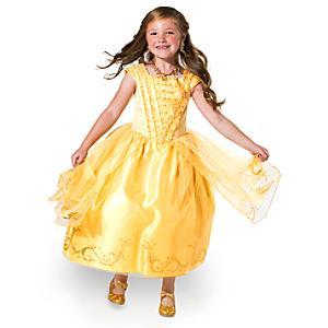 Läs mer om Maskeradklänningen Belle Premium Gold för barn, Skönheten och Odjuret
