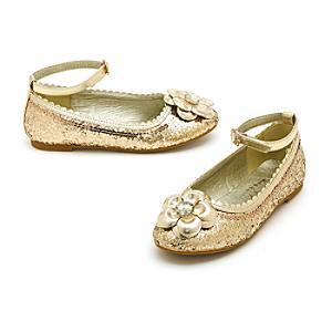 Läs mer om Disney Prinsessor glittriga skor i guld för barn