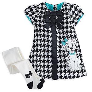 Läs mer om De 101 dalmatinerna babyset med klänning och strumpbyxor