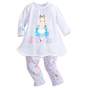 Läs mer om Alice i Underlandet-set med klänning och leggings, babystorlek