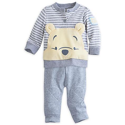 Ensemble haut et pantalon en tricot Winnie l'Ourson pour bébé - 0-3 mois