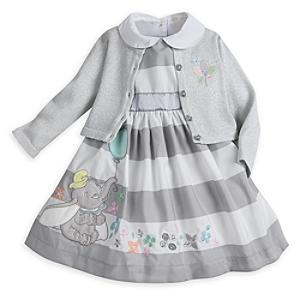 Läs mer om Dumbo-babyset med festklänning, kofta och trosor