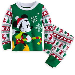 Läs mer om Musse Pigg babypyjamas med jultryck