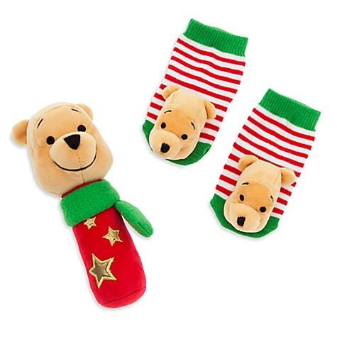 Ensemble Cadeau hochet et chaussettes winnie l'ourson pour bébé - 0-6 mois