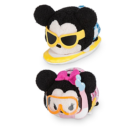 Ensemble de mini peluches tsum tsum mickey et minnie à hawaï