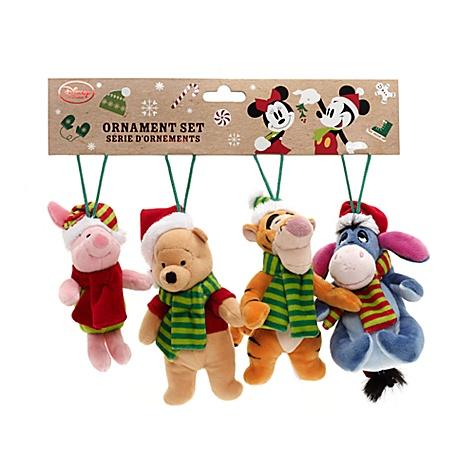 Ensemble de 4 décorations en peluche Winnie l'Ourson et ses amis