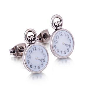 Läs mer om Disney Couture Alice i Underlandet vitguldspläterade klockörhängen