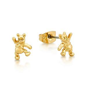 Läs mer om Disney Couture Nalle Puh guldpläterade örhängen i stiftmodell