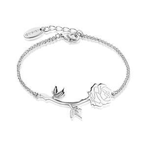 Läs mer om Disney Couture Skönheten och Odjuret vitguldspläterat armband med förtrollad ros