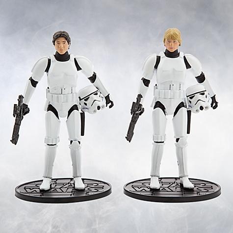Ensemble de figurines han solo et luke skywalker en stormtrooper de la série elite, 40eanniversaire de star wars