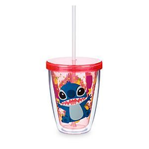 Läs mer om Stitch dricksglas med sugrör som ändrar färg