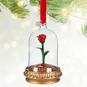 Läs mer om Skönheten och Odjuret juldekoration med en ros som lyser