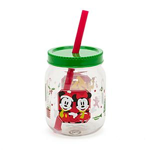 Minnie And Mickey Mouse Festive Jam Jar Cup With Straw