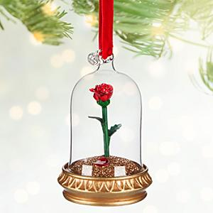 Läs mer om Skönheten och Odjuret juldekoration med en ros