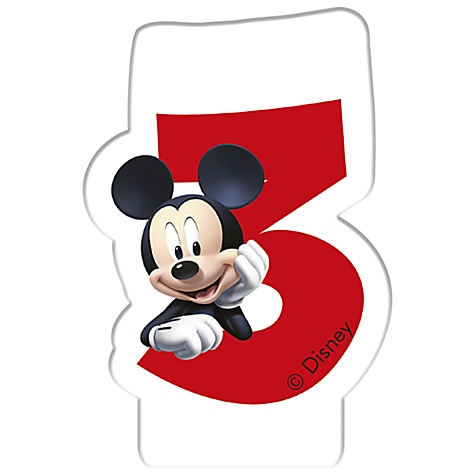 Bougie d'anniversaire Mickey Mouse, 3 ans