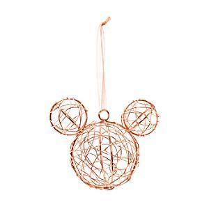 Läs mer om Musse Pigg juldekoration i rött guld, Disneyland Paris