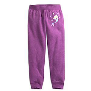Läs mer om Den lilla sjöjungfrun färgglada träningsbyxor i fleece
