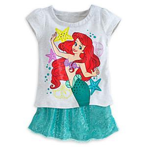 Läs mer om Den lilla sjöjungfrun set med t-shirt och skort