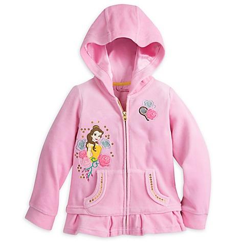 Sweatshirt zippé à capuche en velours Belle pour enfants - 3 ans
