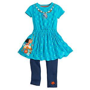 Läs mer om Vaiana-set med klänning och trikåer i barnstorlek
