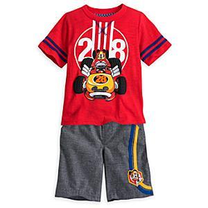 Läs mer om Musse Pigg Racergänget-set med t-shirt och shorts i barnstorlek