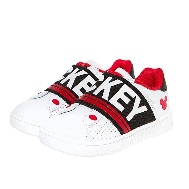 Arnetta Baskets Mickey Mouse blanc et rouge pour enfants, petite taille