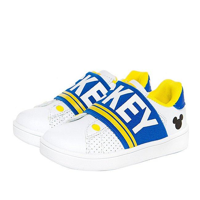 Arnetta Baskets Mickey Mouse blanc et bleu pour enfants, moyenne taille