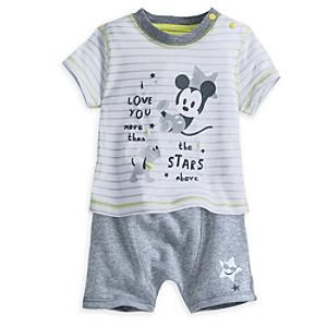 Completo maglietta e pantaloncini neonato Topolino