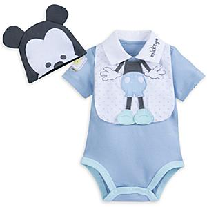 Mickey Mouse Baby Body Suit and Bib Set -  Newborn - Mickey Mouse Gifts