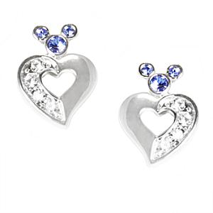 Mickey Mouse Icon Heart With Blue Crystal Earrings, Arribas Jewelled Collection