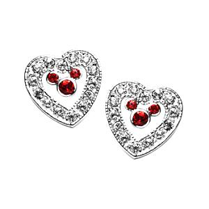 Mickey Mouse Red Heart Earrings, Arribas Jewelled Collection - Mothers Day Gifts