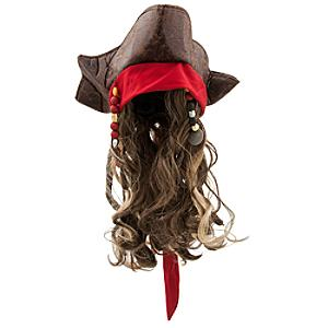 Jack Sparrow Costume Hat and Wig For Kids, Pirates of the Caribbean: Salazar's Revenge