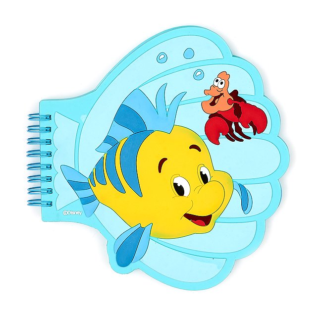 Disney Store cahier en forme de coquillage polochon et sébastien, la petite sirène