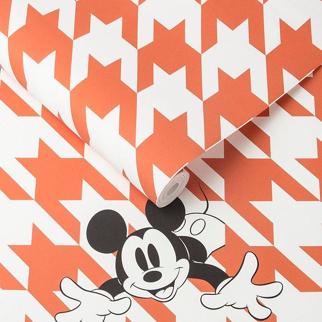 Kelly Hoppen Papier peint Mickey Mouse pied-de-poule orange